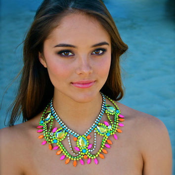 The Classic Neon Crystal Statement Necklace