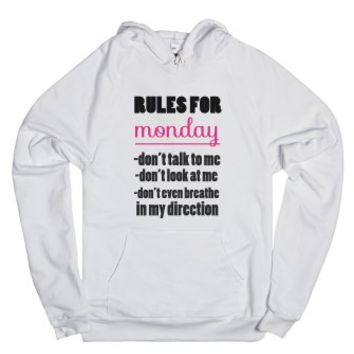 Rules For Monday-Unisex White Hoodie