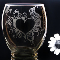Valentine's day abstract heart and butterfly vase hand engraved glass personalized