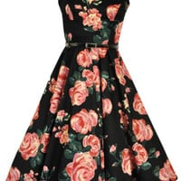 LADY VINTAGE AUDREY HEPBURN DRESS 9 DIFFERENT PRINTS *50s ROCKABILLY* SIZE 8-28