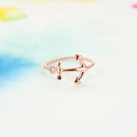 Delicate Ship Boat Navy Pink Rose Gold Anchor Ring