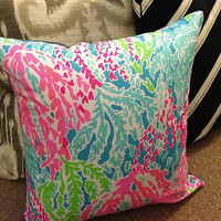 """Let's Cha Cha Lilly Pulitzer 16x16"""" Pillow & Cover Zip"""