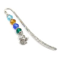 Birthstone Bookmark: Beaded Angel Book Mark, Personalized Gift For Mom, Book Lover