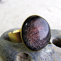 Glitter Dome Ring  Northern Lights  Red and Gold by AshleySpatula