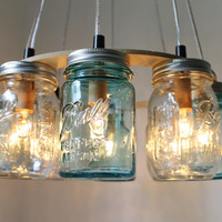 Beach House Mason Jar Chandelier  Upcycled Hanging by BootsNGus