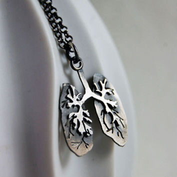 Just Breathe, Sterling Silver Lungs By Markhed
