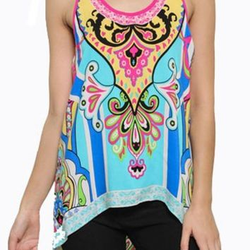 Tribal Unique Print Sleeveless High Low Tank Top