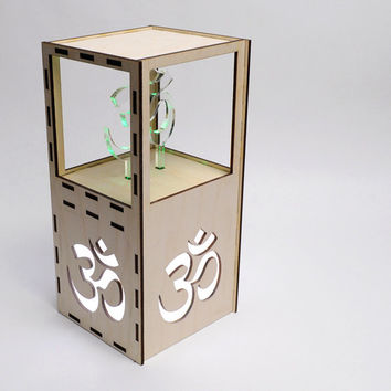 Om and Aum Desktop Night Light, Lighted White Hindu Symbol in Wood and Acrylic