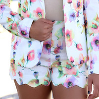 Turn Back Time Floral Scalloped Shorts