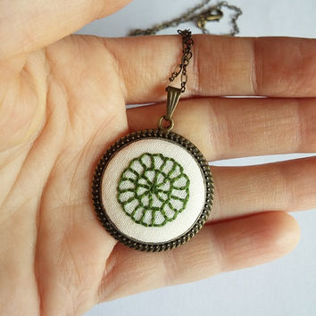 Green Embroidered Ornament Necklace, Bronze Necklace, Long Chain Necklace, Vintage Necklace