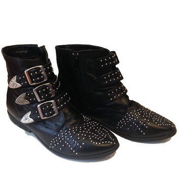 Vintage 80's Leather western boho punk rock Studded Ankle Boots with silver buckles size womens 6-6.5