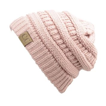 Trendy Warm Chunky Soft Stretch Cable Knit Slouchy Beanie Skully HAT20A,One Size,Indi Pink