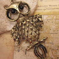 Wise Old Owl Vintage Style Necklace by trinketsforkeeps on Etsy