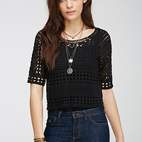 Sheer Crocheted Boxy Top