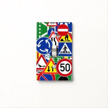 Fun and Colorful European Traffic Signs Collage