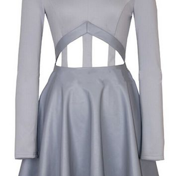 Holly Cut Out Leather Pleated Dress - Grey