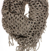 """Dry77 Knitted Fishnet Chain Loop Eternity Infinity Scarf, Brown, 27"""" x 50"""""""