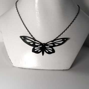 Ironwork Silhouette Butterfly Recycled Vinyl Necklace