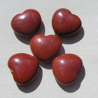 Red Jasper Solid Crystal Puffy Gemstone Heart, 45mm (One Only)
