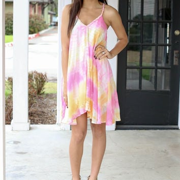 Lost in Translation Dress - Pink Tye Dye