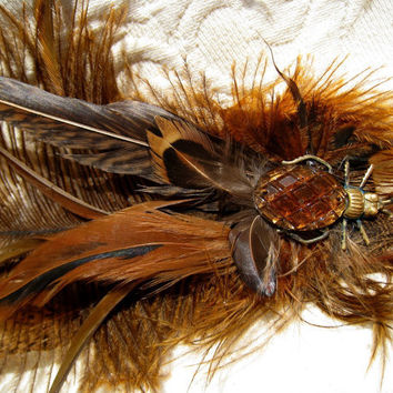 Steampunk Amber Beetle Feather Fascinator Burlesque