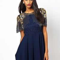 Virgos Lounge Onyx Skater Dress with Embellished Shoulder