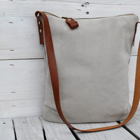 Beige suede leather with camel leather strap Purse Clutch Pouch Shoulderbag
