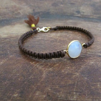 Moonstone Sparkle Bracelet, Beaded Women Jewelry, Gems Gold Filled Bezel Bracelet