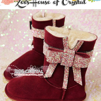 NEW Style -  Bling and Sparkly Wine Red SheepSkin Wool BOOTS w Blinged BOWS
