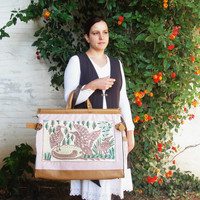 Fly Away Weekender Travel Bag - Leather, Vintage Embroidery and Linen