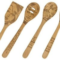 Talisman Designs 12-Inch Solid Beechwood Mixing, Slotted & Corner Spoon Plus Spatula Turner with Pop Art Design (Set of 4)