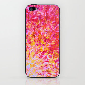 ROMANTIC DAYS - Lovely Sweet Romance, Valentine's Day Sweetheart Pink Red Abstract Acrylic Painting iPhone & iPod Skin by EbiEmporium   Society6