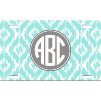 Custom Personalized License Plate Car Tag Preppy Ikat Circle Monogram Sorority 16th Birthday Girls Gift Aluminum Front Car Plate LP-1003