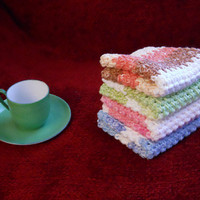Crocheted Wash Cloth/ Dish Cloth in Stripes, set of 4