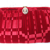 vintage 1950's purse red flocked velvet evening by cricketcapers