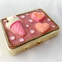 Kawaii pill box, pink sweets deco, cute gift for her