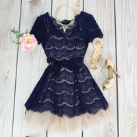 Over Achiever Dress in Navy
