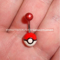 Pokemon Pokeball Belly Ring by Gamers4Gamers on Etsy
