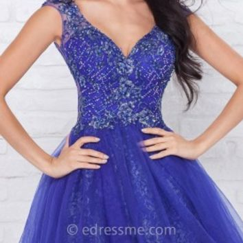 Metallic Lace Mini Prom Gown by Tony Bowls Shorts
