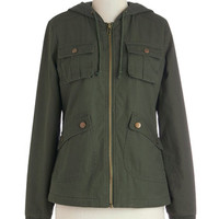 Jack by BB Dakota 90s Mid-length Long Sleeve Take to the Lake Jacket in Green