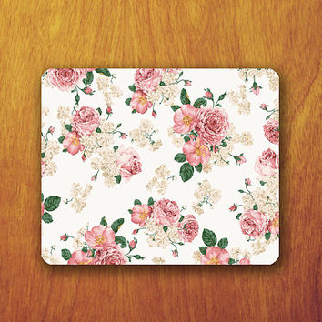 green pink Flower Pattern ROSE Mouse PAD Floral Mousepad Painting Vintage For Desk Deco Office Work Mouse Couple Rubber Pad Mat Teacher Gift