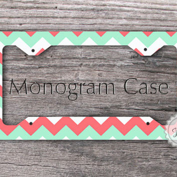 Monogrammed License Plate Frame - Mint green and Coral pink chevron custom auto tag