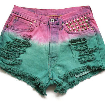 Studded and dip dyed high waisted jean shorts by deathdiscolovesyou