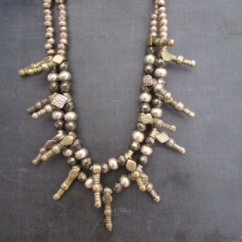 Pyrite and Afghan Antique Charms Necklace, Gemstone Sparkling Jewelry, Gems Geode Ethnic Necklace