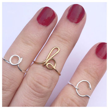 Initial Midi Ring, Script Letter Knuckle Ring, Adjustable Wire, Choose Finish