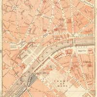 Paris Vintage Map Champs Elysees  Stretched Canvas by Carambas