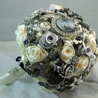Black & White Bridal Brooch Bouquet Free Shipping by annasinclair