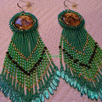 Native American style rosette beaded Deer cabochon earrings