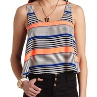 Printed Racerback Swing Crop Top by Charlotte Russe - White Combo