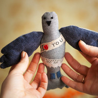 """Postal pigeon with the Love message ' I love you"""", soft  art toy by Wassupbrothers"""